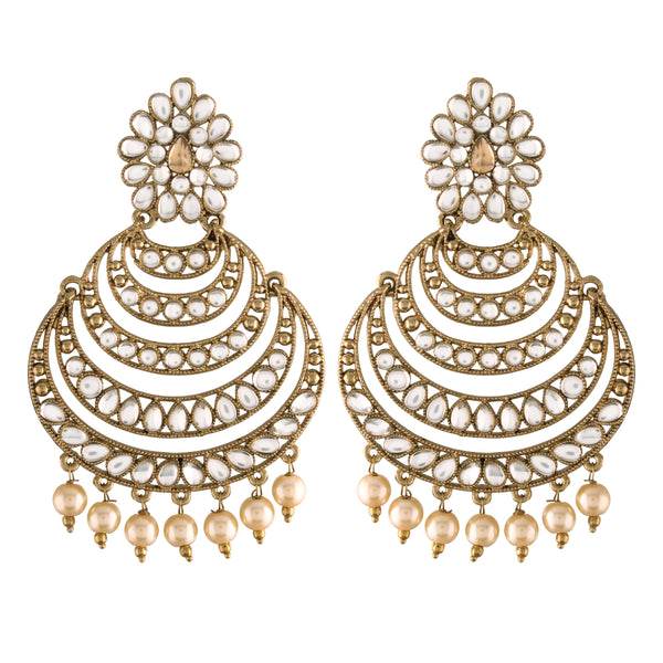 Traditional Gold Plated With Stunning Antique Finish Kundan & Pearl Chandbali Earrings for Women/Girls (E2869W)