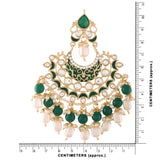 18K Gold Plated Intricately Designed Traditional Earrings Green Enamel Glided With Kundans & Pearls