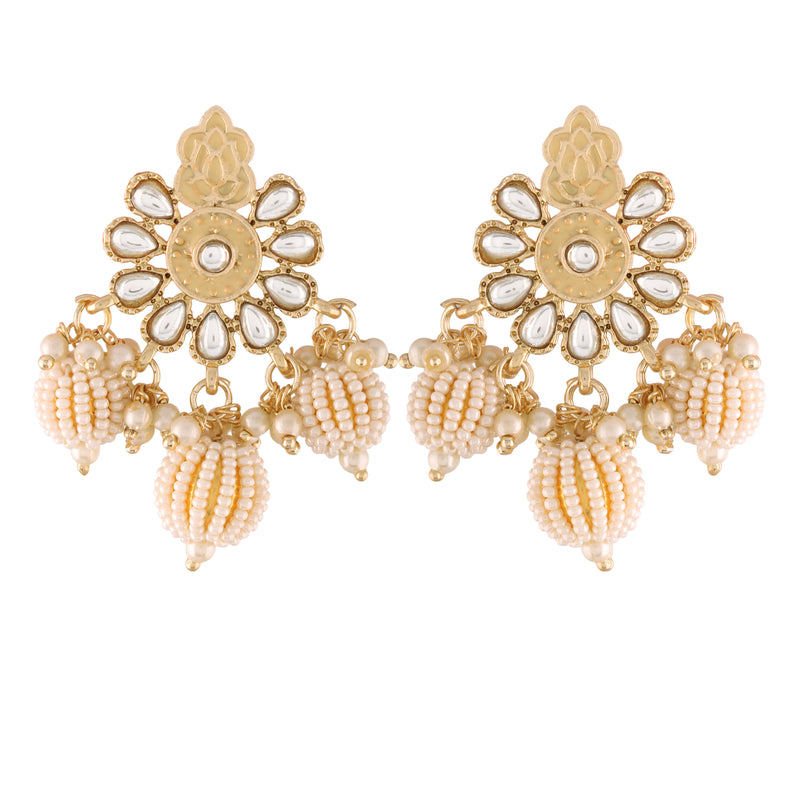18K Gold Plated Intricately Designed Traditional Earrings Red Enamel Glided With Kundans & Pearls
