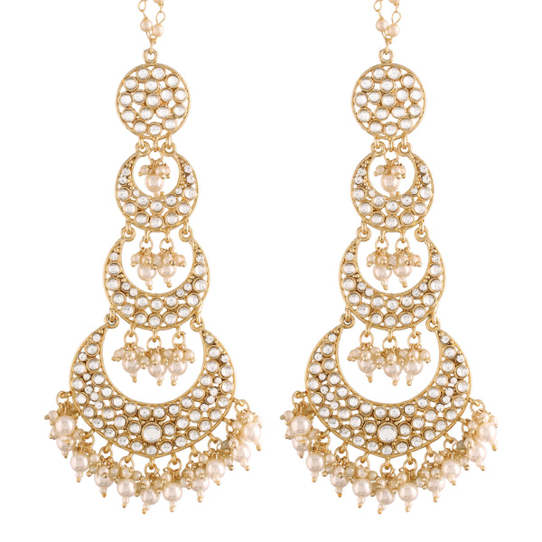 18K Gold Plated Intricately Designed Traditional Earrings with Hair Chain Encased With Kundans & Pearls