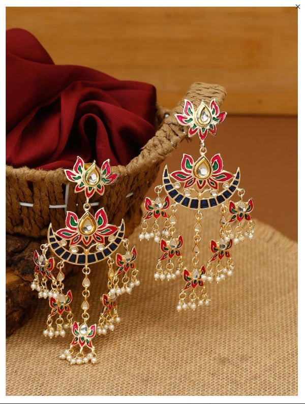 Gold Plated Chandbali Kundan Pearl with Meenakari Dangle Earrings