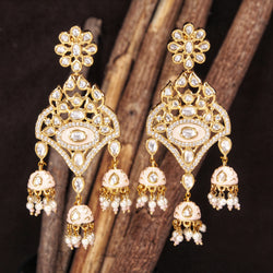 24K Gold Plated Intricately Designed Traditional Ivory Enamel Glided With Uncut Polki Kundan Pearls Brass Earrings for Women