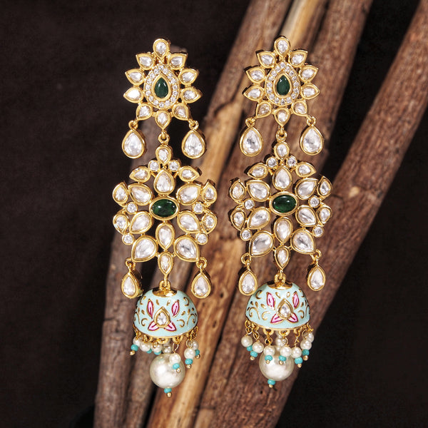 24K Gold Plated Intricately Designed Traditional Mint Enamel Glided With Uncut Polki Kundan Pearls Brass Earrings for Women