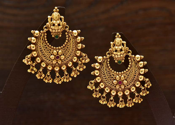 24K Gold Plated Intricately Handcrafted Goddess Laxmi Brass earrings Encased With Kempu & Emerald Stones