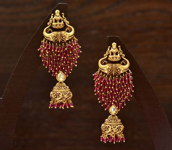 24K Gold Plated Intricately Handcrafted Goddess Laxmi Brass earrings Encased With Ruby Work