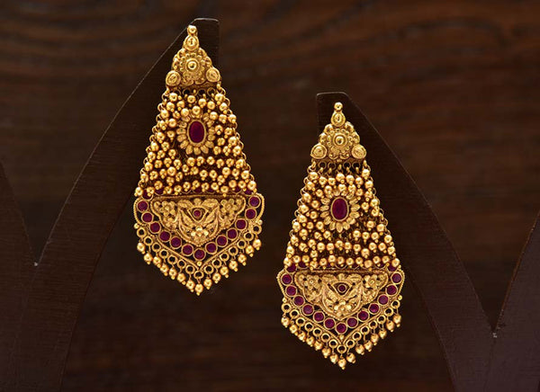 24K Gold Plated Intricately Handcrafted With Antique Finish Brass earrings Encased With Ruby Stones