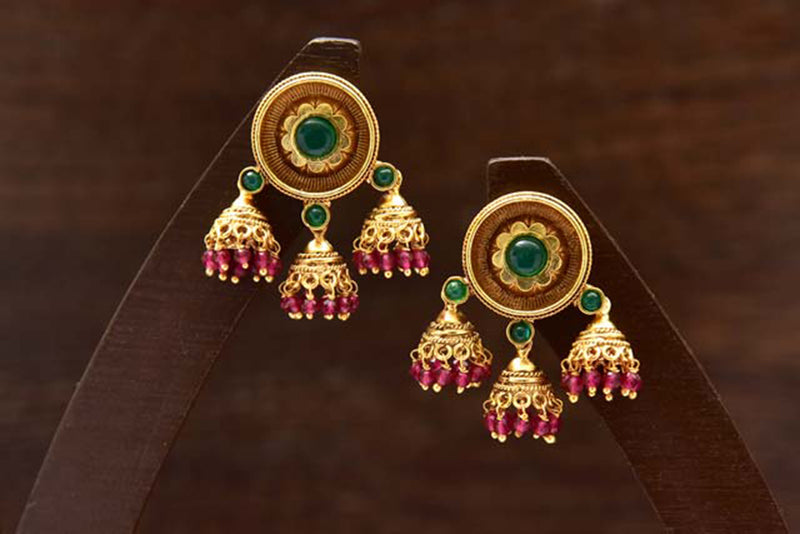 24K Gold Plated Intricately Handcrafted Antique Finish Brass Stud earrings With Jhumkis
