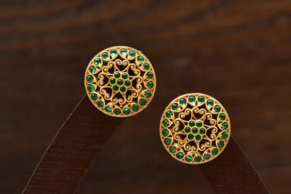 24K Gold Plated Intricately Handcrafted Antique Finish Brass Stud earrings Encased With Emerald Stones
