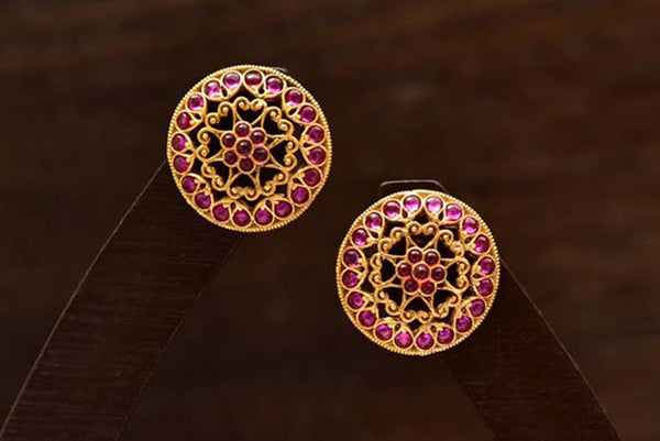 24K Gold Plated Intricately Handcrafted Antique Finish Brass Stud earrings Encased With Kempu Stones