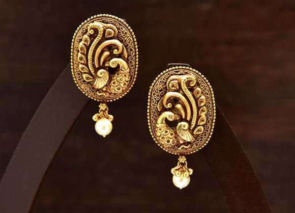 24K Gold Plated Intricately Handcrafted Antique Finish Brass Stud earrings with Peacock Engraved
