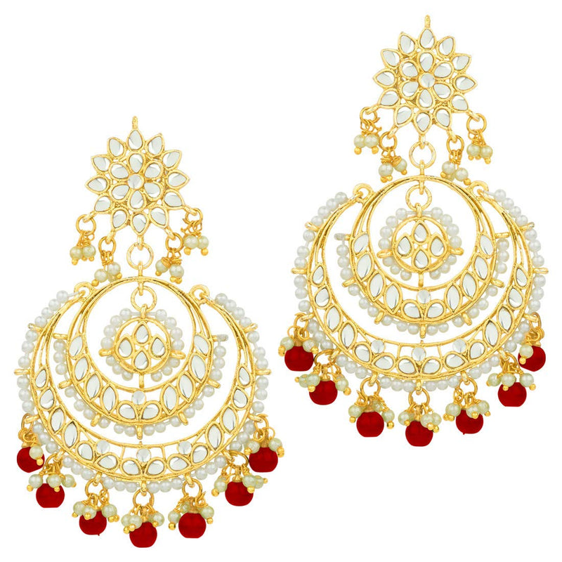Gold Plated Traditional Handcrafted Beaded Big Chandbali Earrings For Women/Girls (E7077R)