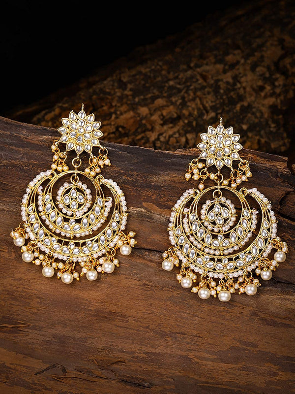 Gold Plated Traditional Chandbali Kundan & Pearl Earrings for Women (E7077W)
