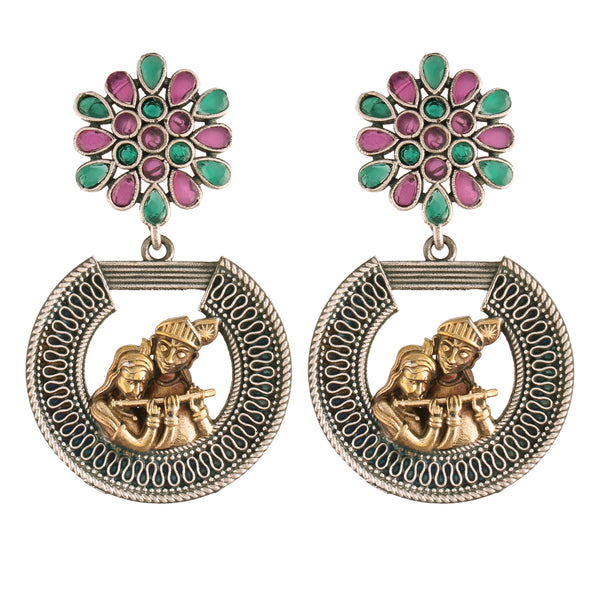 Silver Oxidized Stylish Multicolour Radhe Krishna Floral Earrings For Women/Girls (ES27)