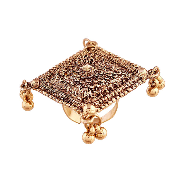 Indian Traditional Antique Boho Vintage Gold Oxidized Adjustable Navratri Ring for Women