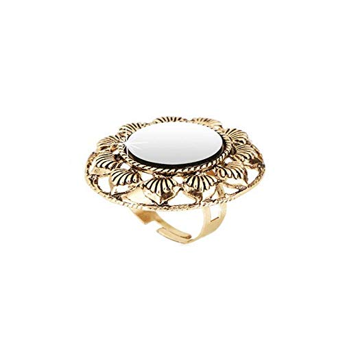 Indian Traditional Antique Boho Vintage Oxidised Silver Adjustable Navratri Ring for Women