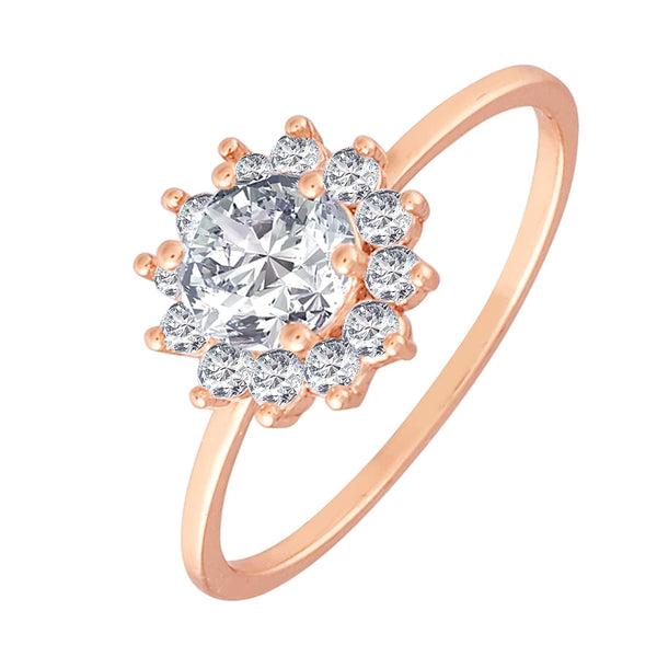 Rose Gold Plated  CZ Flower Ring for Women