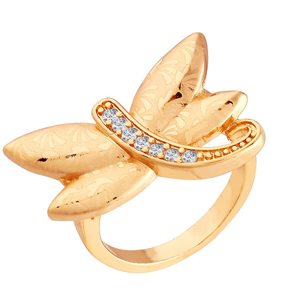 Gold Plated  CZ Butterfly Ring for Women