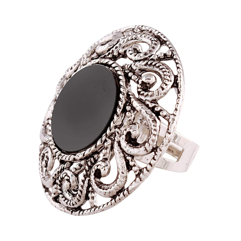 Indian Traditional Antique Boho Vintage Oxidized Silver Adjustable Navratri Mirror Ring for Women