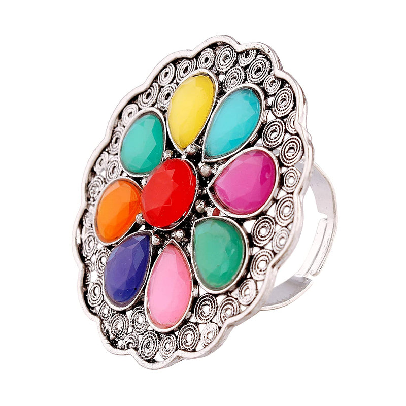 Indian Traditional Antique Boho Vintage Oxidised Multi-Colour Adjustable Navratri Ring for Women & Girls