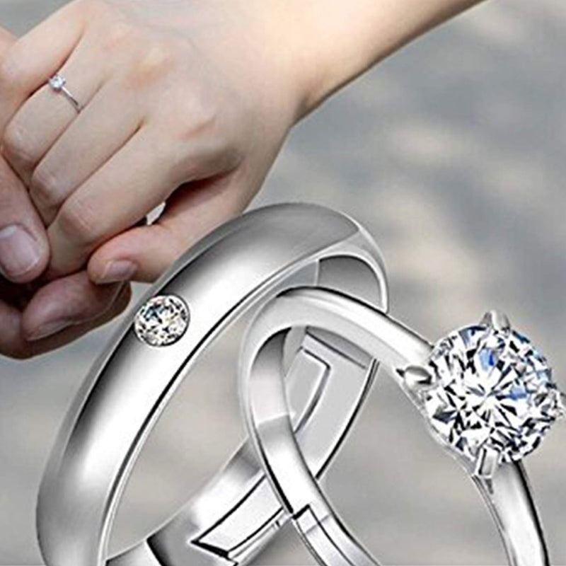 CZ Silver Plated Couple's Ring