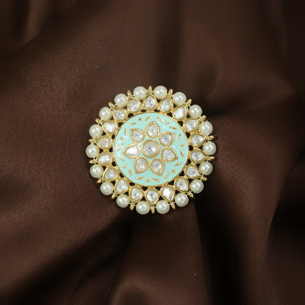 18k Gold Plated Traditional Mint Enamel/Meena Work Moti Ring Glided with Uncut Polki Kundans for Women/Girls (FL166Min)
