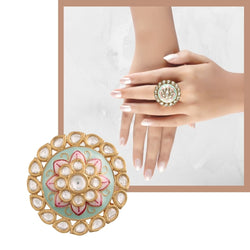 18k Gold Plated Traditional Mint Enamel/Meena Work Ring Glided with Uncut Polki Kundans for Women/Girls (FL167Min)