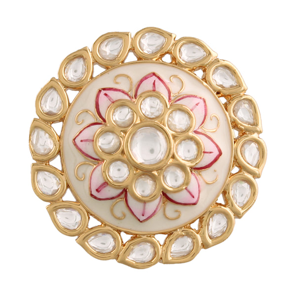 18k Gold Plated Traditional White Enamel/Meena Work Ring Glided with Uncut Polki Kundans for Women/Girls (FL167W)