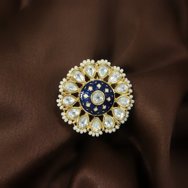 18k Gold Plated Traditional Blue Enamel/Meena Work Ring Glided with Uncut Polki Kundans & Edged with Beads for Women/Girls (FL168BL)