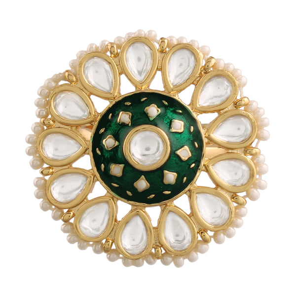 18k Gold Plated Traditional Green Enamel/Meena Work Ring Glided with Uncut Polki Kundans & Edged with Beads for Women/Girls (FL168G)