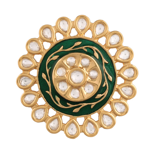 18k Gold Plated Traditional Green Enamel/Meena Work Ring Glided with Uncut Polki Kundans for Women/Girls (FL169G)