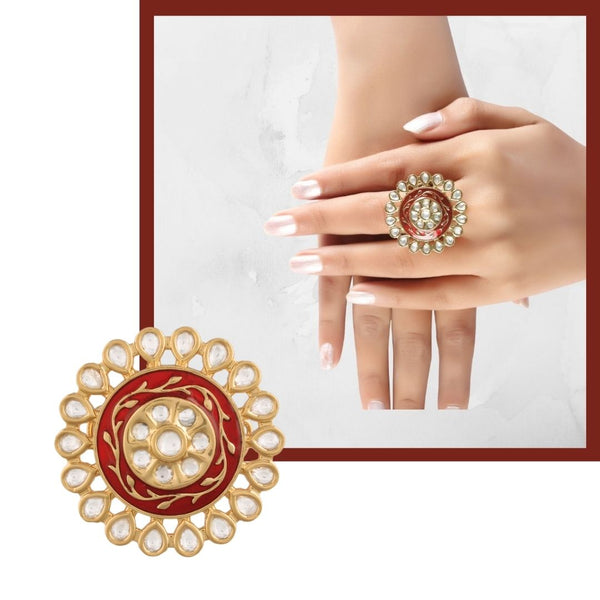 18k Gold Plated Traditional Red Enamel/Meena Work Ring Glided with Uncut Polki Kundans for Women/Girls (FL169R)
