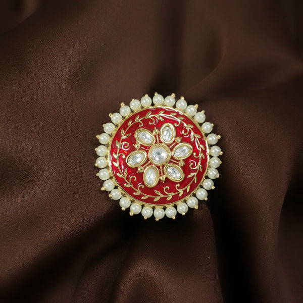 18k Gold Plated Traditional Red Enamel/Meena Work Moti Ring Glided with Uncut Polki Kundans & Edged with Moti for Women/Girls (FL170R)