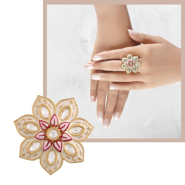 18k Gold Plated Traditional Ivory Enamel/Meena Work Floral Ring Glided with Uncut Polki Kundans for Women/Girls (FL171W)