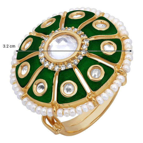 18k Gold Plated Traditional Green Enamel/Meena Work Moti Ring Glided with Uncut Polki Kundans & Edged with Moti for Women/Girls (FL172G)