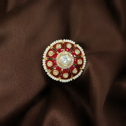 18k Gold Plated Traditional Red Enamel/Meena Work Moti Ring Glided with Uncut Polki Kundans & Edged with Moti for Women/Girls (FL172R)