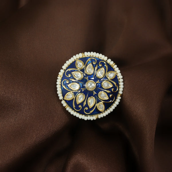 18k Gold Plated Traditional Blue Enamel/Meena Work Moti Ring Glided with Uncut Polki Kundans & Edged with Moti for Women/Girls (FL173BL)