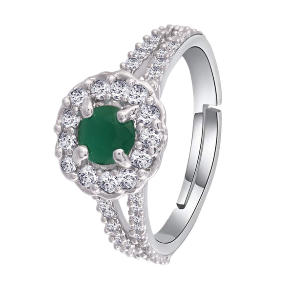 Silver Plated Elegant Emerald Stone Studded CZ American Diamond Adjustable Ring For Women (FL175G)