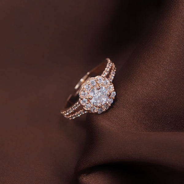 Rose Gold Plated Elegant CZ American Diamond Adjustable Ring For Women (FL175RG)