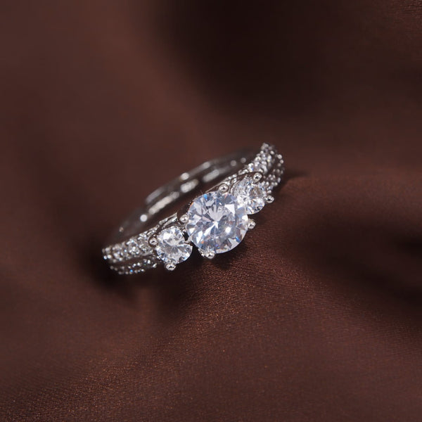 Silver Plated Elegant CZ American Diamond Adjustable Ring For Women (FL177W)
