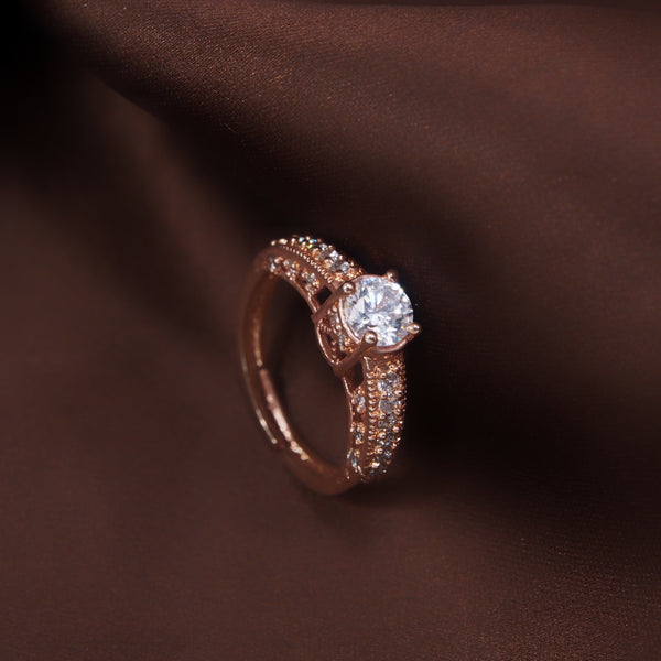 Rose Gold Plated Elegant CZ American Diamond Adjustable Ring For Women (FL178RG)