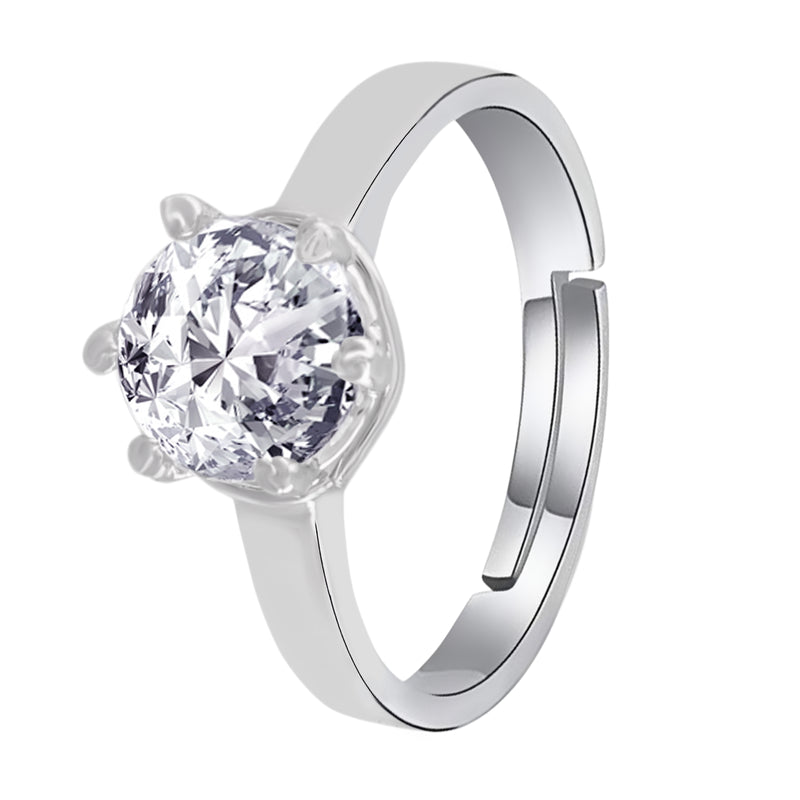 Silver Plated Elegant CZ American Diamond Adjustable Ring For Women (FL179)