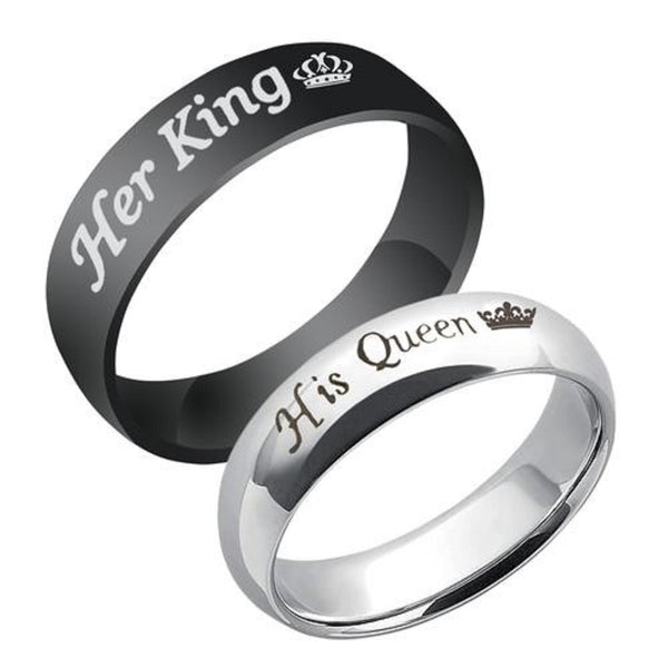 Valentine's Special Her King His Queen Silver Plated & Black Titanium Stainless Steel Couple Rings For Love