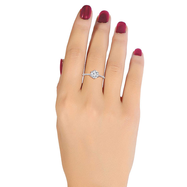 AAA Solitaire CZ Silver Plated Adjustable Ring for Women/Gift for Girlfriend