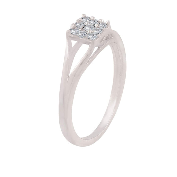Silver Plated Crystal Studded CZ Ring for Women