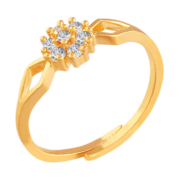 Gold Plated  CZ Solitaire Adjustable Ring for Women