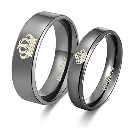 Valentine's Special Her King His Queen Black Titanium Stainless Steel Couple Rings For Love