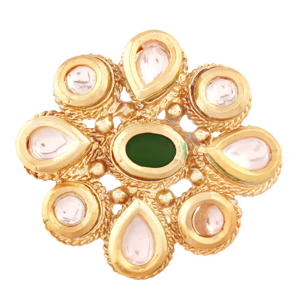 Gold Plated Ethnic Adjustable Kundan Finger Ring for Women