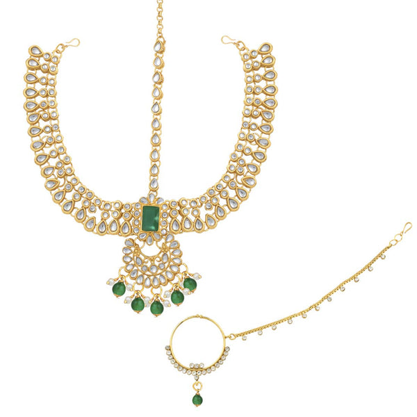 18K Gold Plated Traditional Handcrafted Faux Kundan Studded Bridal Jewellery Set with Earrings & Matha Patti for Women (IJ020G)