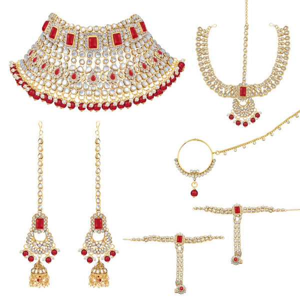 18K Gold Plated Traditional Handcrafted Faux Kundan Studded Bridal Jewellery Set with Earrings & Matha Patti for Women (IJ020R)