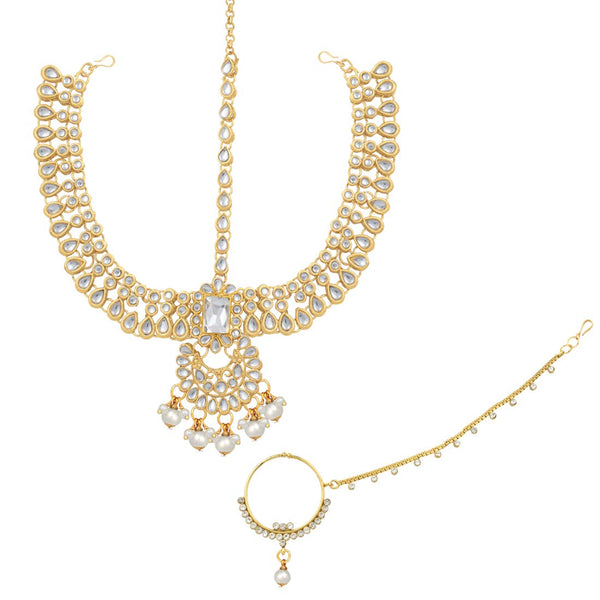 18K Gold Plated Traditional Handcrafted Faux Kundan Studded Bridal Jewellery Set with Earrings & Matha Patti for Women (IJ020W)